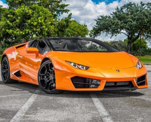 Lamborghini Huracan LP610 Spyder Orange rent in Miami