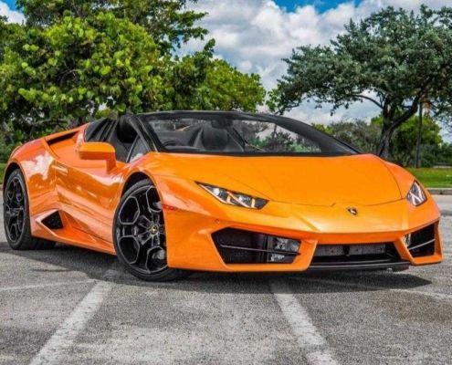 Lamborghini Huracan LP610 Spyder Orange rent in Miami