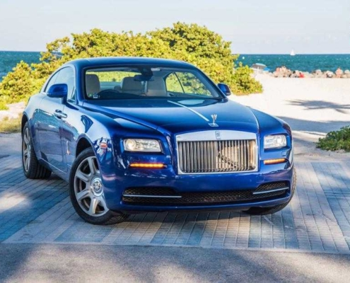 Rolls Royce wraith blue rent in Miami